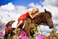 Beauty on horse Stock Photo