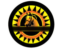 Beauty horse logo. In black and yellow Stock Photos