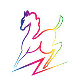 Beauty horse silhouette logo. Beauty horse vector rainbow color silhouette   background Stock Images