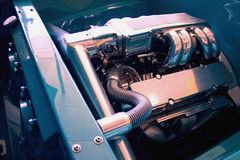 The beauty of hotrod V8 power. Under the hood of hotrod V8 power Royalty Free Stock Photography
