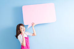 Beauty housewife feel excited Royalty Free Stock Images