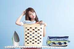 Beauty housewife feel sad Stock Images