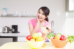 Beauty housewife in kitchen Royalty Free Stock Photos