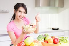 Beauty housewife in kitchen Royalty Free Stock Image