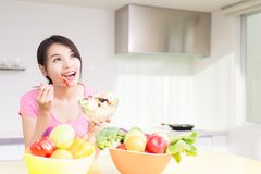 Beauty housewife in kitchen Royalty Free Stock Images