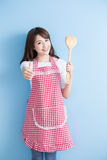 Beauty housewife take rice spoon Royalty Free Stock Photos