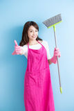 Beauty housewife thumb up Stock Photos