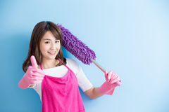 Beauty housewife thumb up Royalty Free Stock Image