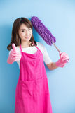 Beauty housewife thumb up Royalty Free Stock Photography