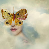 Beauty is how you look. Surreal image representing a female portrait shrouded in the clouds with a butterfly instead of her eyes vector illustration