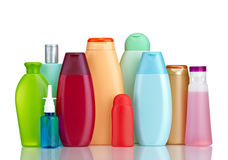 Beauty hygiene container. Collection of  various beauty hygiene containers on white background with clipping path Royalty Free Stock Photo