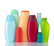 Beauty hygiene container. Collection of  various beauty hygiene containers on white background with clipping path Stock Photography