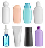 Beauty hygiene container. Collection of  various beauty hygiene containers on white background. each one is shot separately Stock Image