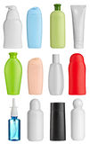 Beauty hygiene container. Collection of  various beauty hygiene containers on white background. each one is shot separately Royalty Free Stock Photos