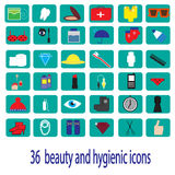 36 beauty and hygienic color icons. 36 beauty and hygienic icons Stock Photos