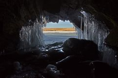 The beauty of the ice caves on Olkhon island stock photography
