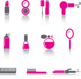Beauty Icon Set. Makeup and beauty icons. Hot pink version Stock Photos