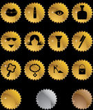 Beauty Icon Set: Sticker Button Series - Gold Stock Photography