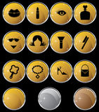 Beauty Icon Set: Web Button Series - Gold Stock Photo