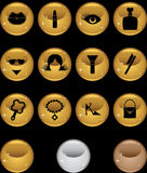 Beauty Icon Set: Web Button Series - Round Gold Stock Photo