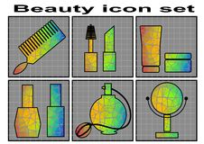 Beauty icon set Royalty Free Stock Images