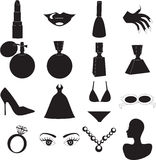 Beauty Icons. 12 Vector Silhouette Icons for Beauty or Fashion. Also available as buttons and in color Royalty Free Stock Images