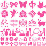 Beauty icons. Set of beauty decorative icons. Vector illustration Stock Photo