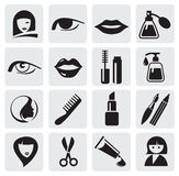 Beauty icons. Vector icons pack - Black Series, beauty collection Royalty Free Stock Photo