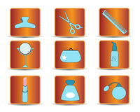 Beauty icons. Flat blue, beauty objects on the orange background Royalty Free Stock Images