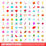 100 beauty icons set, cartoon style Royalty Free Stock Images
