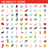 100 beauty icons set, isometric 3d style. 100 beauty icons set in isometric 3d style for any design vector illustration Stock Image