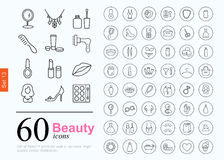 60 beauty icons. Set of beauty icons for web or services. 60 design female line icons high quality, vector illustration Royalty Free Illustration