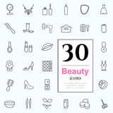 30 beauty icons. Set of beauty icons for web or services. 30 design female line icons high quality, vector illustration Stock Photo