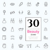 30 beauty icons. Set of beauty icons for web or services. 30 design female line icons high quality, vector illustration Stock Photography