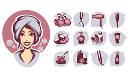 Beauty icons Stock Photo