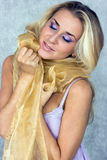 Beauty In Silk Scarf Royalty Free Stock Photography