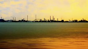 Beauty in industry: simple industrial scape from the sea Royalty Free Stock Photos