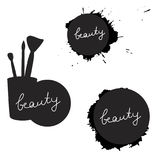 Beauty inscription on various silhouettes. Black and white. Isolated. Vector illustration. Stock Photography