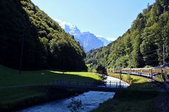 The beauty in interlaken from the train. This photo taken in Interlaken,Switzerland from the train Royalty Free Stock Photography