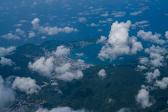 Beauty islands in the sea, view from the plane Royalty Free Stock Images