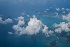 Beauty islands in the sea, view from the plane Royalty Free Stock Image
