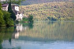 Lake Toblino with the castle stock images