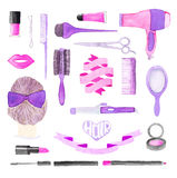 Beauty Items. Hand Drawn Set Of Different Hair Styling And Make Up Tools Stock Photography