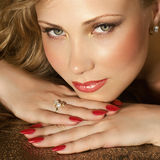 Beauty with jewelry. Portrait of beautiful woman with jewelry Royalty Free Stock Images