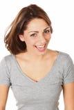 Beauty Joy. Beautiful Joyful Woman Dressed In A Grey Blouse Stock Photos