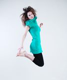 Beauty jumping woman Royalty Free Stock Image