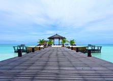 The beauty of Kapalai resort. In the middle of Celebes Sea during noon hour Royalty Free Stock Photos