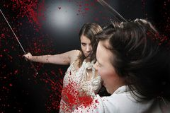 Beauty katana Killer girl Stock Image