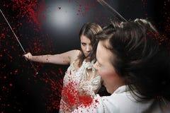 Beauty katana Killer girl. Beauty danger katana Killer girl Stock Image
