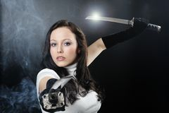 Beauty katana Killer girl Royalty Free Stock Photos